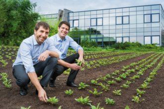 Mathias und Marcus Hevert auf dem Heilpflanzenfeld