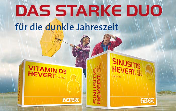 In der Erkältungszeit setzt Hevert-Arzneimittel mit Vitamin D3 Hevert und Sinusitis Hevert SL auf zwei starke Produkte für die ganze Familie.